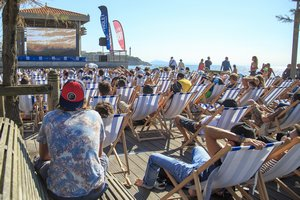 Surf movie projection film canva chairs International Surf Film festival Anglet